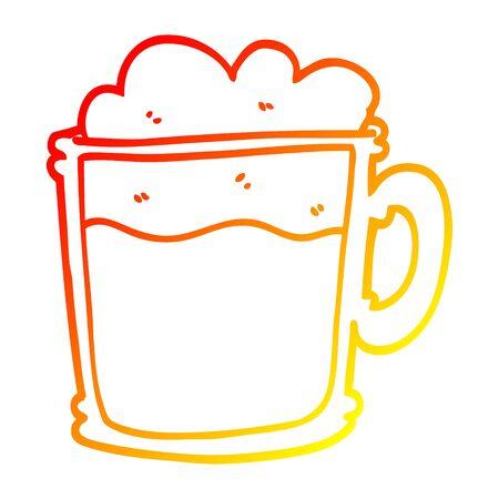 warm gradient line drawing of a cartoon foamy latte