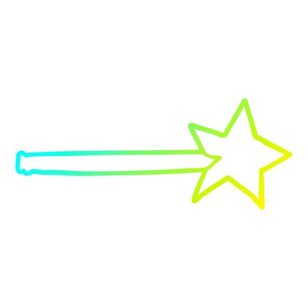 cold gradient line drawing of a magic star wand