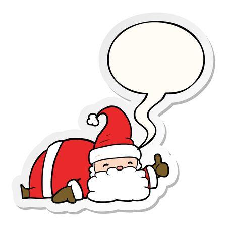 cartoon sleepy santa giving thumbs up symbol with speech bubble sticker