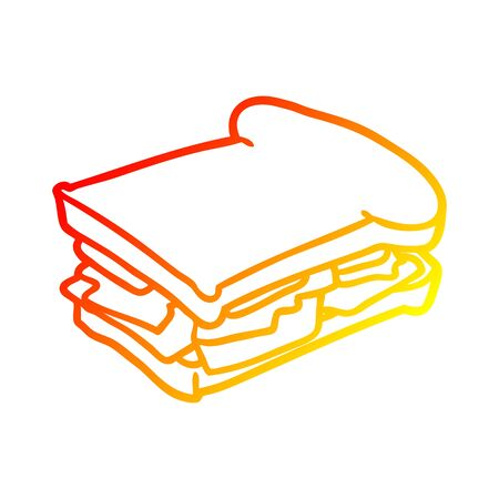 warm gradient line drawing of a ham cheese tomato sandwich Illusztráció