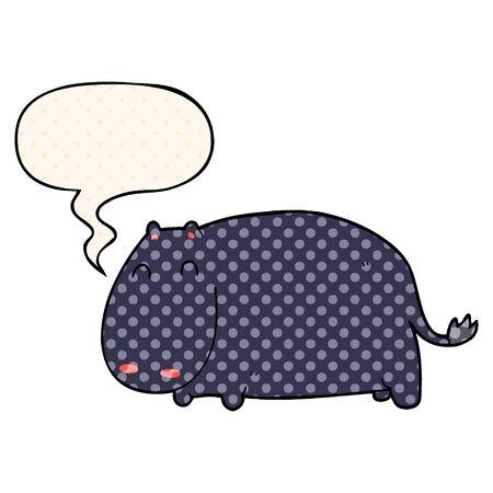 cartoon hippo with speech bubble in comic book style Ilustracja