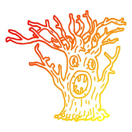 warm gradient line drawing of a cartoon spooky tree