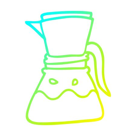 cold gradient line drawing of a cartoon filter coffee maker