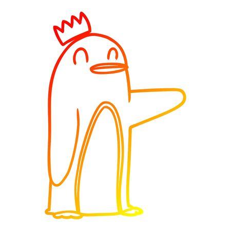 warm gradient line drawing of a cartoon emperor penguin Ilustração