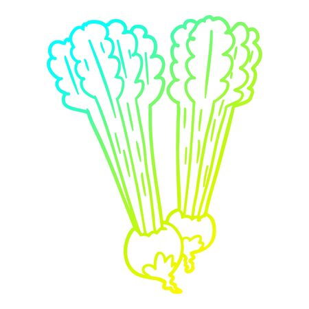 cold gradient line drawing of a Cartoon beetroots Illusztráció