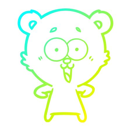 cold gradient line drawing of a laughing teddy  bear cartoon