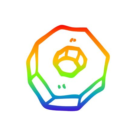 rainbow gradient line drawing of a cartoon nut
