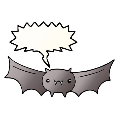 cartoon vampire bat with speech bubble in smooth gradient style