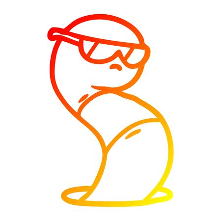 warm gradient line drawing of a cartoon cool worm