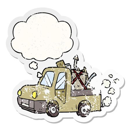 cartoon old truck with thought bubble as a distressed worn sticker Illustration