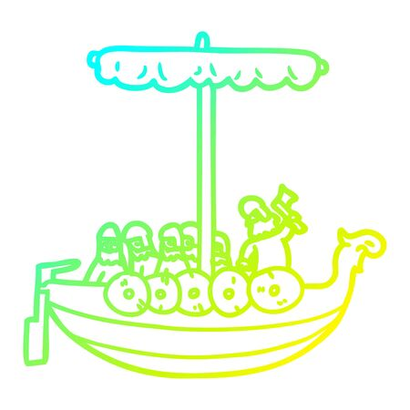 cold gradient line drawing of a cartoon vikings sailing Illustration