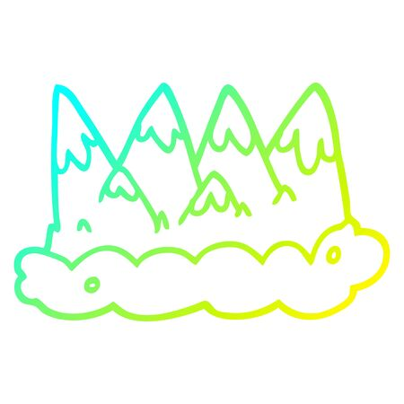 cold gradient line drawing of a cartoon mountains Ilustração