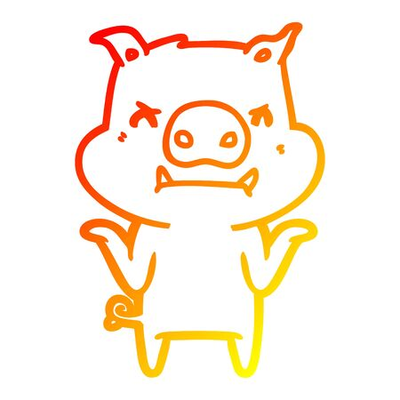 warm gradient line drawing of a angry cartoon pig shrugging shoulders Ilustração