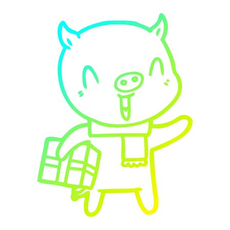 cold gradient line drawing of a happy cartoon pig with xmas present Ilustração