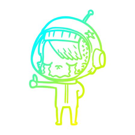 cold gradient line drawing of a cartoon crying astronaut girl making thumbs up sign