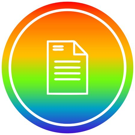 official document circular icon with rainbow gradient finish