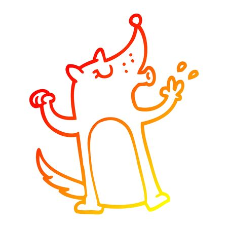warm gradient line drawing of a cartoon whistling wolf