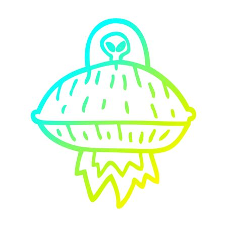 cold gradient line drawing of a cartoon alien spaceship 向量圖像
