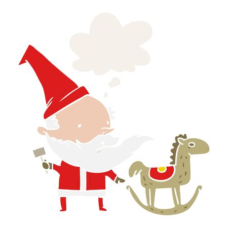 cartoon santa making toy with thought bubble in retro style Иллюстрация