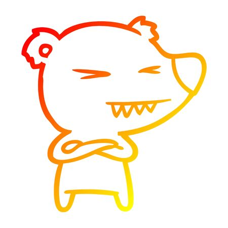 warm gradient line drawing of a angry polar bear cartoon with folded arms