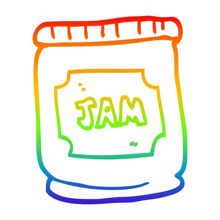 rainbow gradient line drawing of a cartoon jam pot