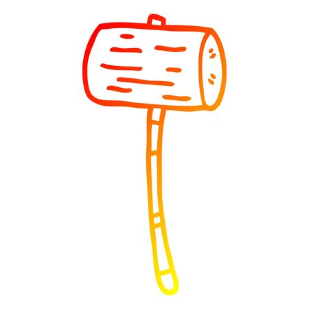 warm gradient line drawing of a cartoon mallet