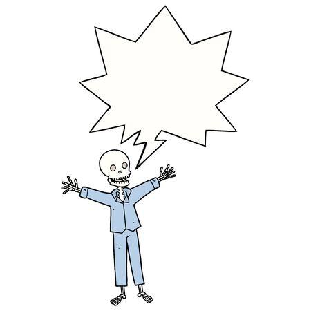 cartoon skeleton wearing pajamas with speech bubble