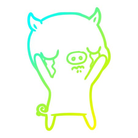 cold gradient line drawing of a cartoon pig crying Ilustração