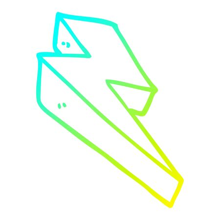cold gradient line drawing of a cartoon fire bolt