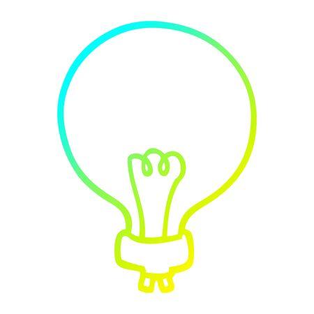 cold gradient line drawing of a cartoon light bulb Foto de archivo - 130151618