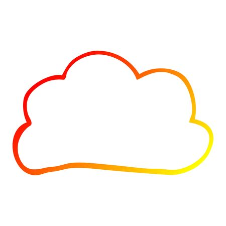 warm gradient line drawing of a cartoon weather cloud Vector Illustration
