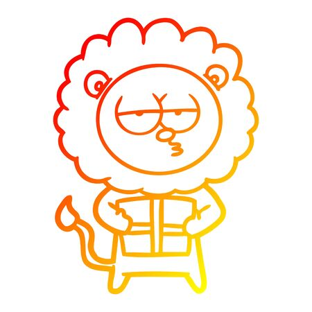 warm gradient line drawing of a cartoon bored lion with present 版權商用圖片 - 130151674