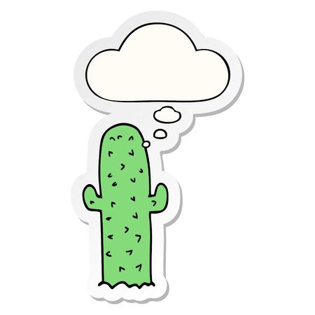 cartoon cactus with thought bubble as a printed sticker Иллюстрация
