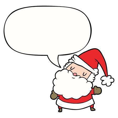 cartoon santa claus with speech bubble Иллюстрация