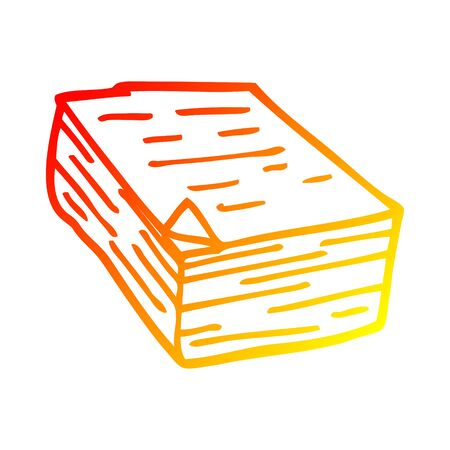 warm gradient line drawing of a cartoon pile of paper