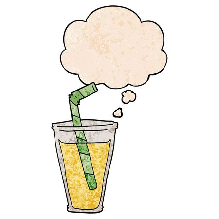 cartoon fizzy drink with thought bubble in grunge texture style  イラスト・ベクター素材