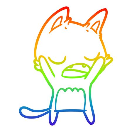 rainbow gradient line drawing of a cartoon yawning cat 版權商用圖片 - 130151722