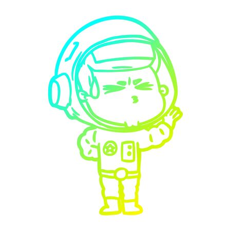 cold gradient line drawing of a cartoon stressed astronaut  イラスト・ベクター素材