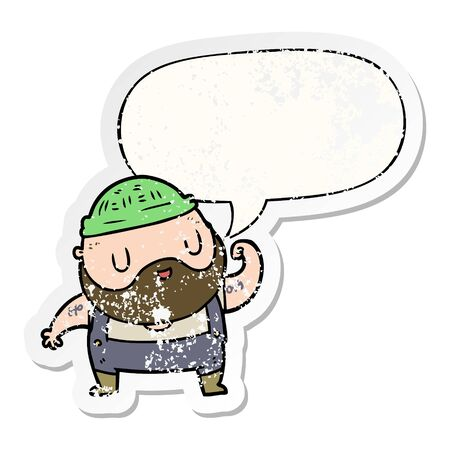 cartoon tough fisherman with speech bubble distressed distressed old sticker