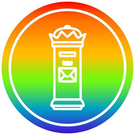 British postbox circular icon with rainbow gradient finish
