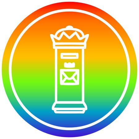 British postbox circular icon with rainbow gradient finish