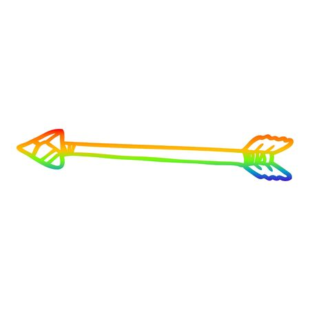 rainbow gradient line drawing of a cartoon arrow