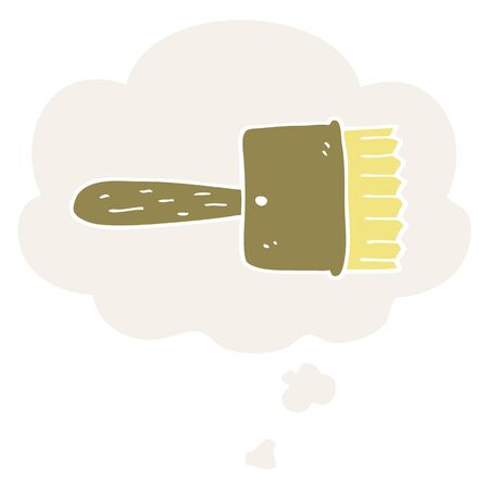 cartoon paintbrush with thought bubble in retro style