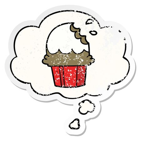 cartoon cupcake with thought bubble as a distressed worn sticker Иллюстрация