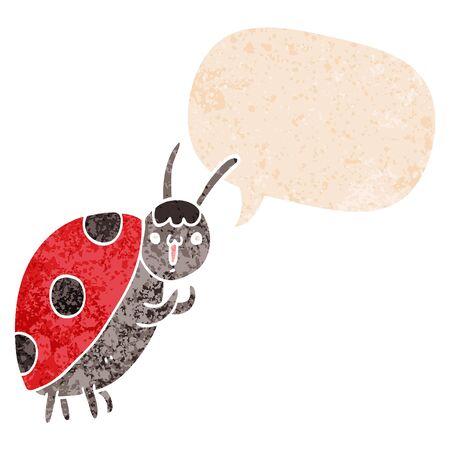 cute cartoon ladybug with speech bubble in grunge distressed retro textured style Foto de archivo - 130151792