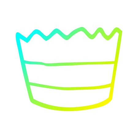 cold gradient line drawing of a cartoon muffin pot
