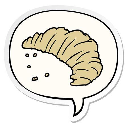 cartoon croissant with speech bubble sticker