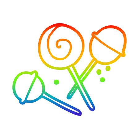 rainbow gradient line drawing of a traditional lollipop