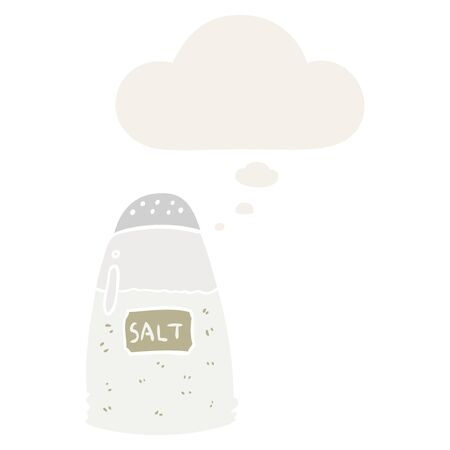 cartoon salt with thought bubble in retro style Illusztráció