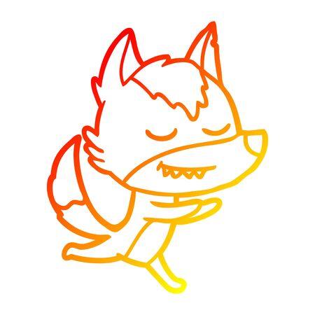 warm gradient line drawing of a friendly cartoon wolf running